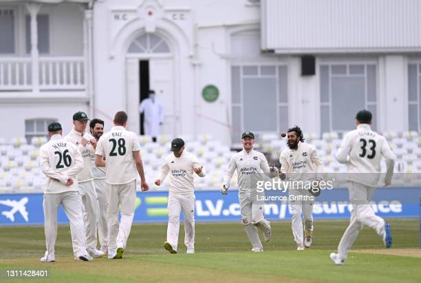 Haseeb Hameed of Nottinghamshire celebrates the first wicket of a new season catching Michael Jones of Durham off the bowling of Jake Ball during the...