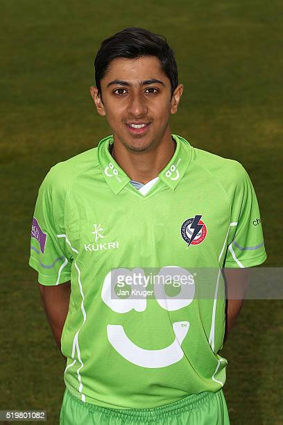 Haseeb Hameed poses during Lancashire CCC photocall at Old Trafford on April 8 2016 in Manchester England