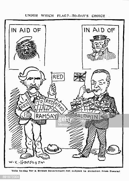 W K Haselden Cartoon 29th October 1924 The cartoon is of Ramsay MacDonald holding a red flag standing underneath a poster of a bolshevik and Stanley...