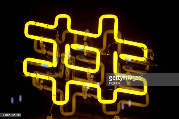 hash tag, sharp sign, number symbol, pound sign - marketing icons stock photos and pictures