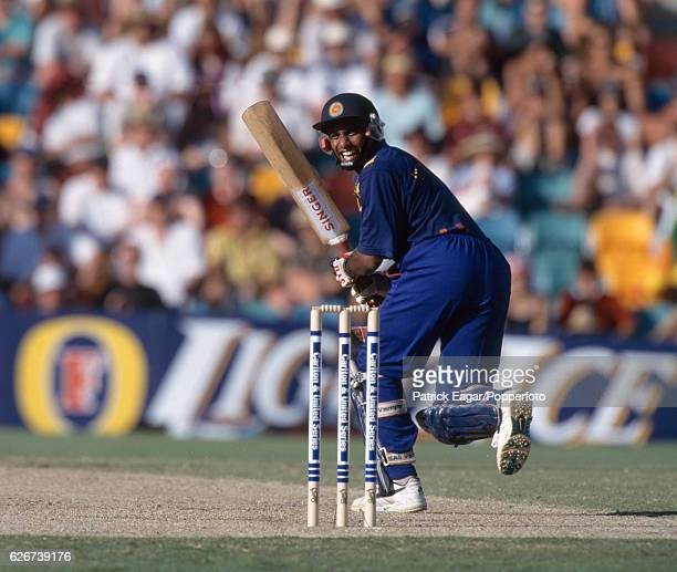 Hashan Tillakaratne batting for Sri Lanka during his innings of 50 not out in the Carlton and United Series One Day International between England and...