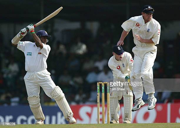 Hashan Tillakaratne of Sri Lanka hits out during the first day of the Second Test between Sri Lanka and England at the Asigiriya Stadium on December...
