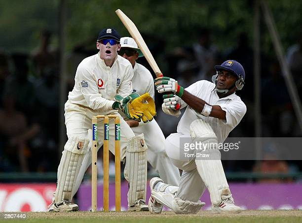 Hashan Tillakaratne of Sri Lanka hits out during the fourth day of the Second Test between Sri Lanka and England at the Asgiriya Stadium on December...