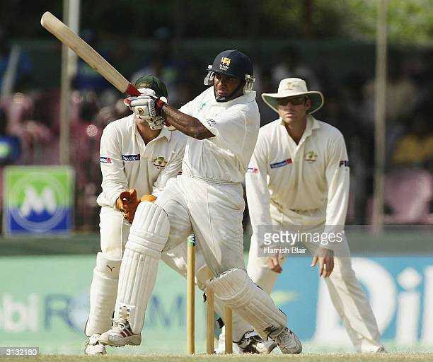 Hashan Tillakaratne of Sri Lanka in action during day three of the Third Test between Australia and Sri Lanka played at the Singhalese Sports Club on...