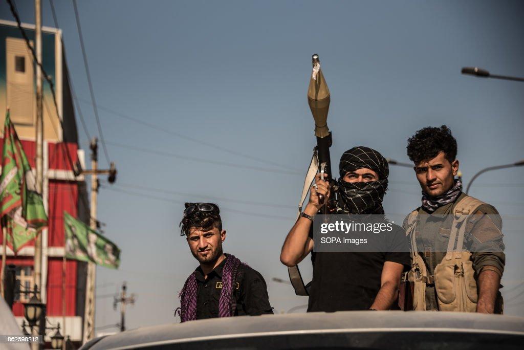 Hashd al Shaabi troops in the turkman area of Kirkuk the day... : News Photo