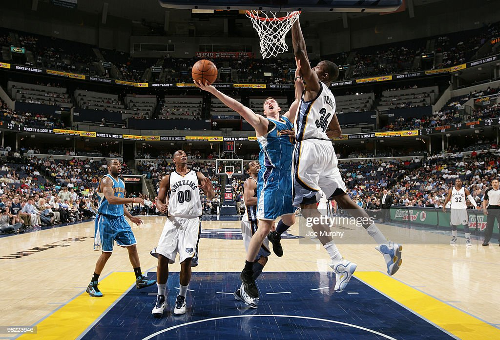 Hasheem Thabeet #34 of the Memphis Grizzlies attempts to block the shot of Darius Songaila #9 of the New Orleans Hornets on April 02, 2010 at FedExForum in Memphis, Tennessee.