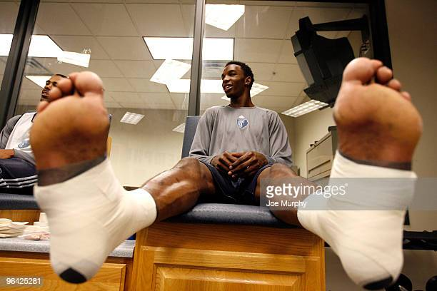 Hasheem Thabeet of the Memphis Grizzlies has his feet taped before a team practice on February 4 2010 at FedExForum in Memphis Tennessee NOTE TO USER...