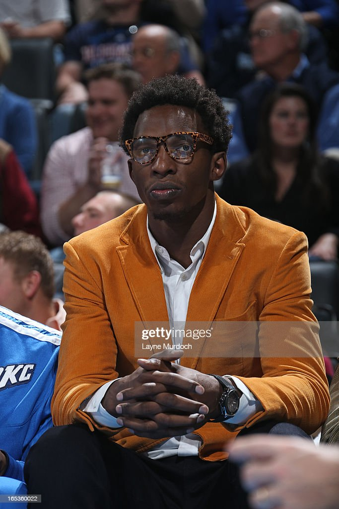 Hasheem Thabeet #34 of the Oklahoma City Thunder sits on the bench during the game against the Denver Nuggets on March 19, 2013 at the Chesapeake Energy Arena in Oklahoma City, Oklahoma.