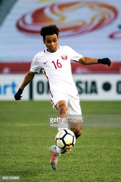 Hashim Ali of Qatar drives the ball during the AFC U23 Championship Group A match between China and Qatar at Changzhou Olympic Sports Center on...