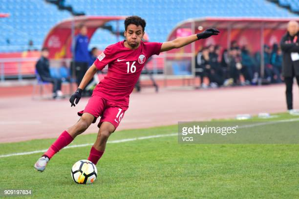 Hashim Ali of Qatar drives the ball during the AFC U23 Championship semifinal match between Qatar and Vietnam at Changzhou Olympic Sports Center on...