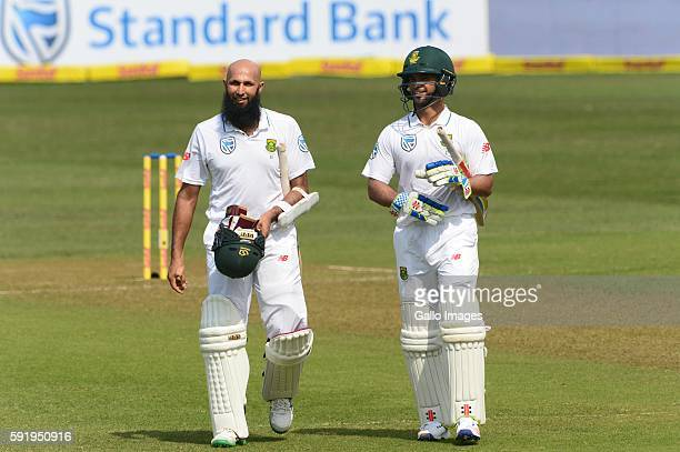 Hashim Amla and JP Duminy of the Proteas during day 5 of the 1st Sunfoil International Test match between South Africa and New Zealand at Sahara...