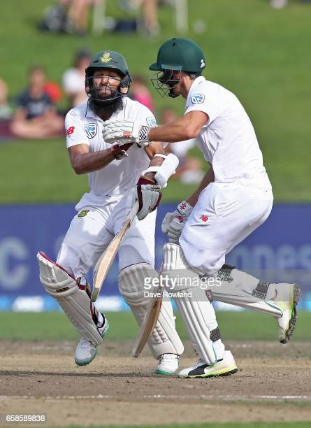 Hashim Amla and Theunis de Bruyn of South Africa collide as they attempt to score a run resulting in Theunis de Bruyn being run out during day four...