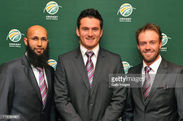 Hashim Amla Graeme Smith and AB de Villiers attend the Cricket South Africa press conference at The Pivot Hotel Southern Sun on June 06 2011 in...