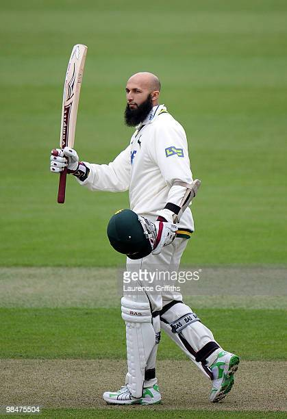 Hashim Amla of Nottinghamshire celebrates his century during the LV County Championship Match between Nottinghamshire and Kent at Trent Bridge on...