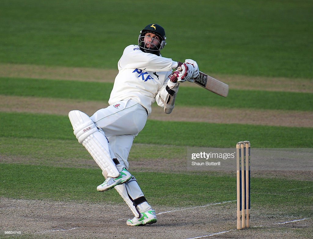 Hashim Amla of Nottinghamshire hits the winning runs during the LV County Championship match between Nottinghamshire and Somerset at Trent Bridge on April 23, 2010 in Nottingham, England.
