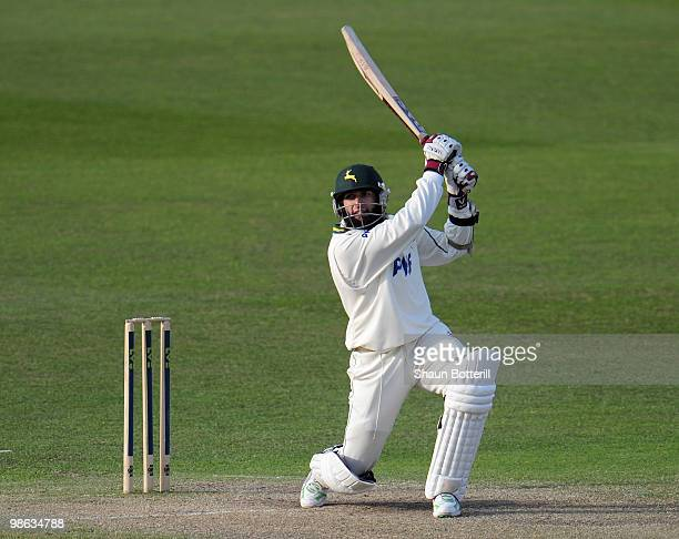 Hashim Amla of Nottinghamshire plays a shot during the LV County Championship match between Nottinghamshire and Somerset at Trent Bridge on April 23...