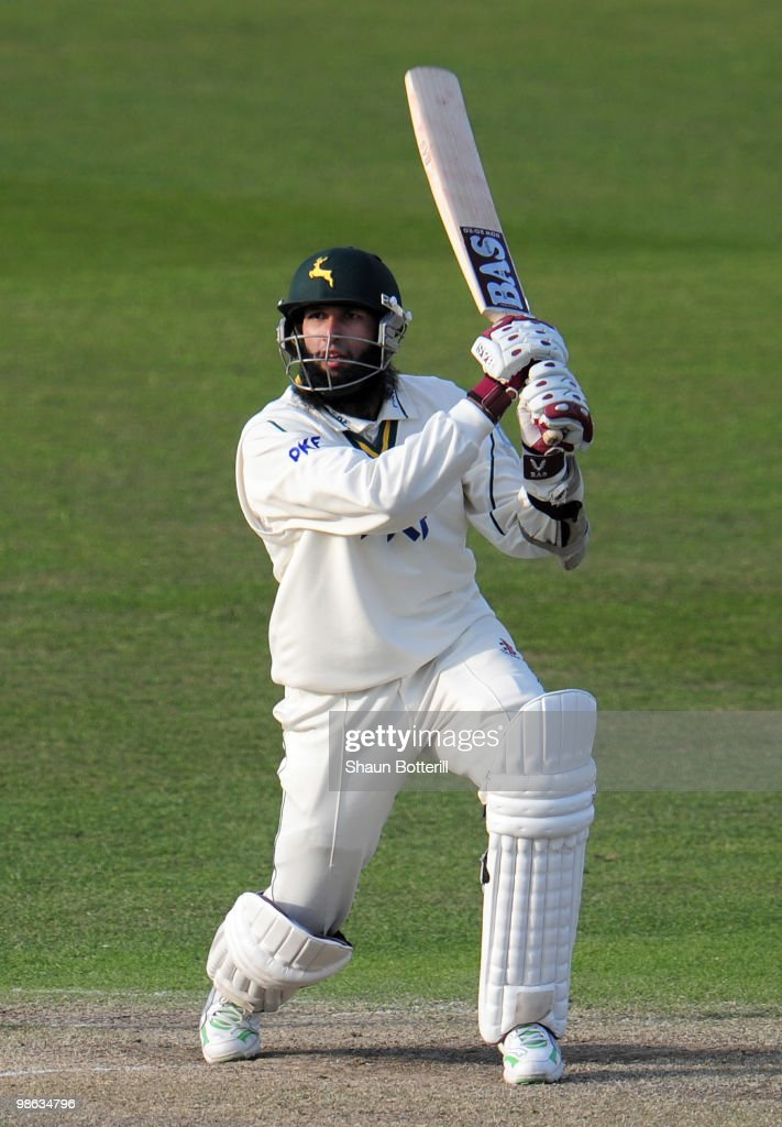 Hashim Amla of Nottinghamshire plays a shot during the LV County Championship match between Nottinghamshire and Somerset at Trent Bridge on April 23, 2010 in Nottingham, England.