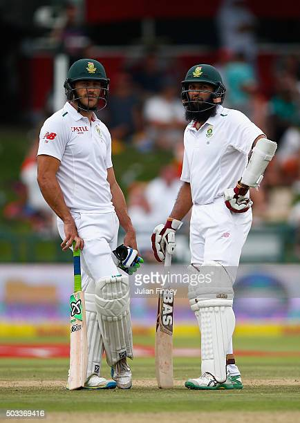 Hashim Amla of South Africa and Faf du Plessis of South Africa together during day three of the 2nd Test at Newlands Stadium on January 4 2016 in...
