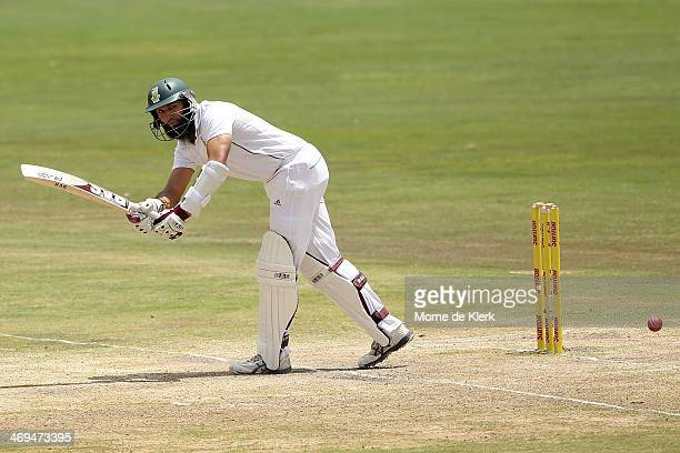 Hashim Amla of South Africa bats during day four of the First Test match between South Africa and Australia on February 15 2014 in Centurion South...