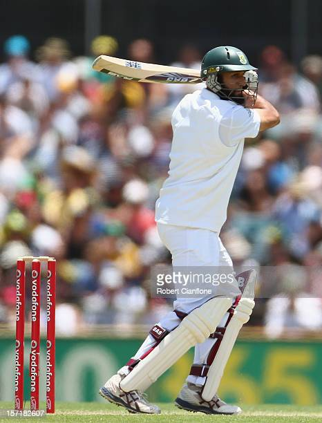 Hashim Amla of South Africa bats during day one of the Third Test Match between Australia and South Africa at the WACA on November 30 2012 in Perth...