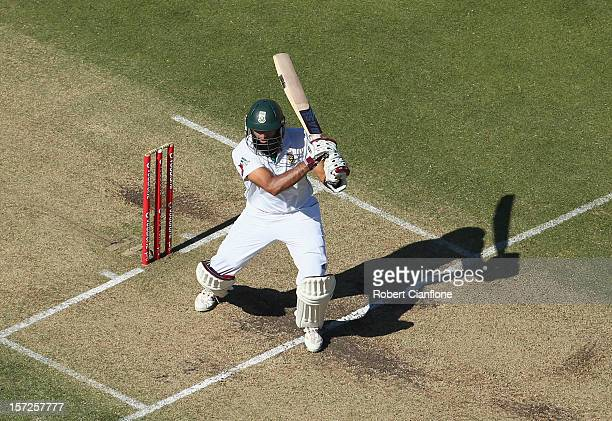 Hashim Amla of South Africa bats during day two of the Third Test Match between Australia and South Africa at WACA on December 1 2012 in Perth...