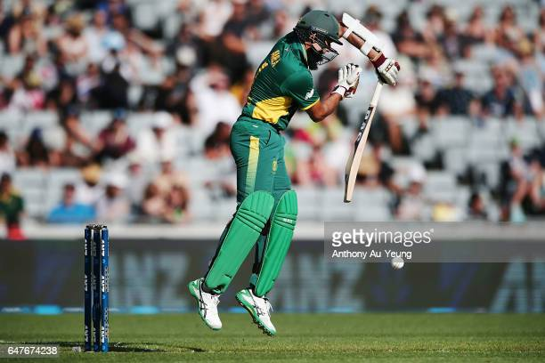 Hashim Amla of South Africa bats during game five of the One Day International series between New Zealand and South Africa at Eden Park on March 4...