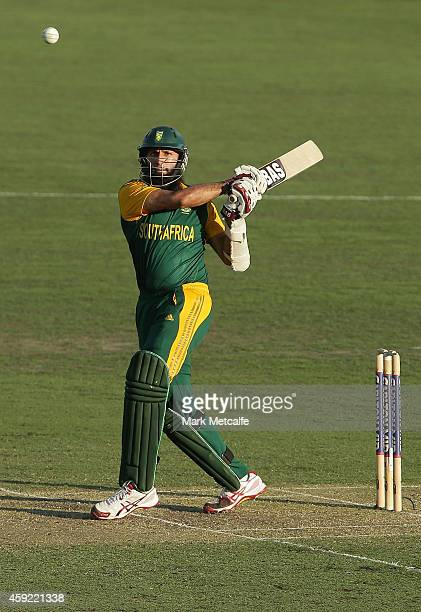 Hashim Amla of South Africa bats during game three of the One Day International Series between Australia and South Africa at Manuka Oval on November...