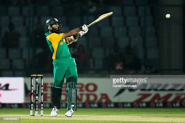 Hashim Amla of South Africa bats during the 2011 ICC World Cup Group B match between West Indies and South Africa at Feroz Shah Kotla Stadium on...