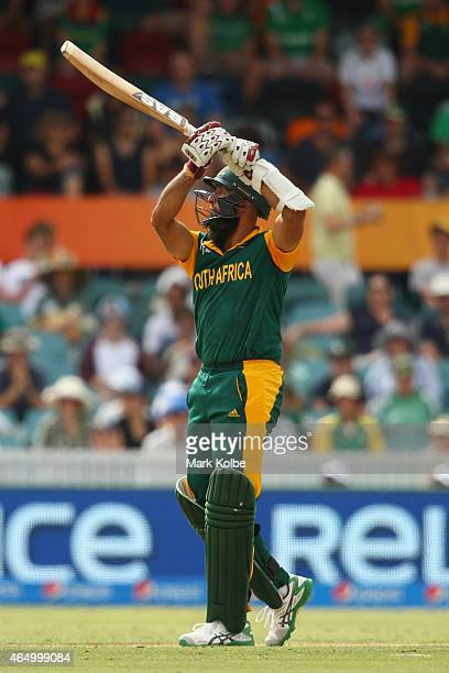 Hashim Amla of South Africa bats during the 2015 ICC Cricket World Cup match between South Africa and Ireland at Manuka Oval on March 3 2015 in...