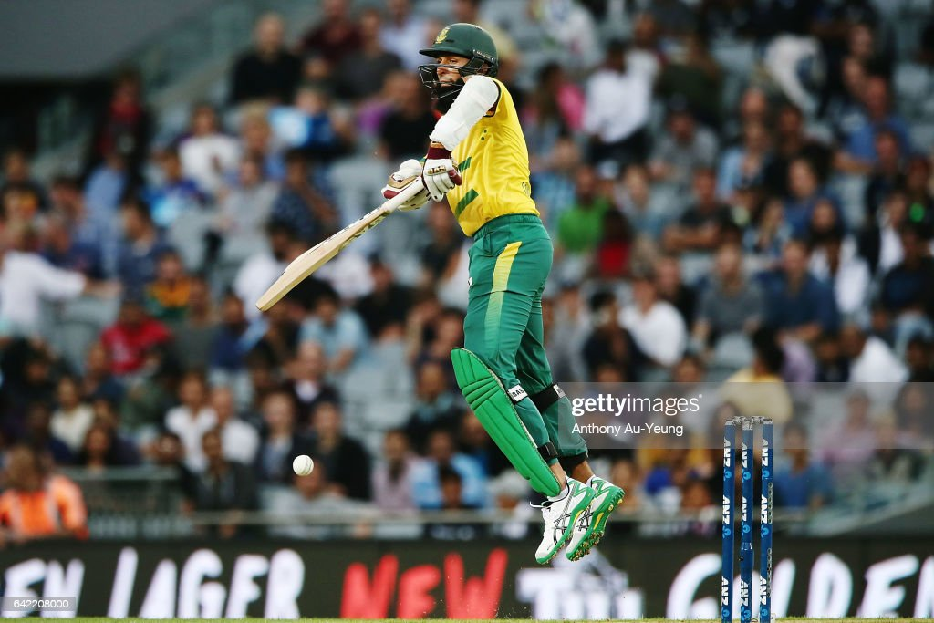 Hashim Amla of South Africa bats during the first International Twenty20 match between New Zealand and South Africa at Eden Park on February 17, 2017 in Auckland, New Zealand.