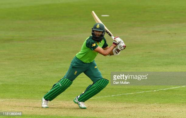Hashim Amla of South Africa bats during the ICC Cricket World Cup 2019 Warm Up match between Sri Lanka and South Africa at Cardiff Wales Stadium on...
