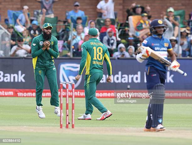 Hashim Amla of South Africa catches out Sandun Weerakkody of Sri Lanka during the 1st One Day International match between South Africa and Sri Lanka...