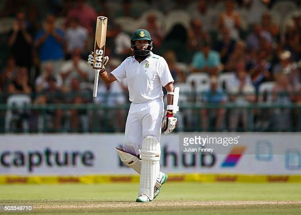 Hashim Amla of South Africa celebrates his 150 runs during day three of the 2nd Test at Newlands Stadium on January 4 2016 in Cape Town South Africa