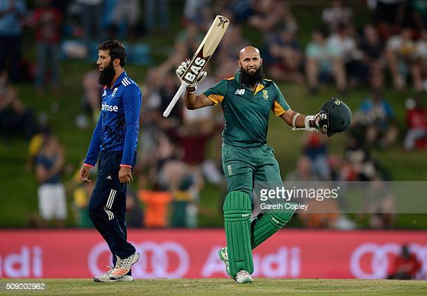 Hashim Amla of South Africa celebrates reaching his century during the 3rd Momentum ODI match between South Africa and England at Supersport Park on...