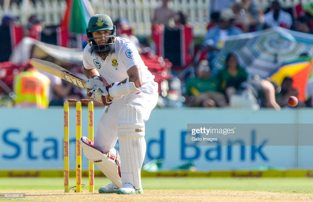 Hashim Amla of South Africa during day 1 of the 2nd Sunfoil Test match between South Africa and India at SuperSport Park on January 13, 2018 in Pretoria, South Africa.