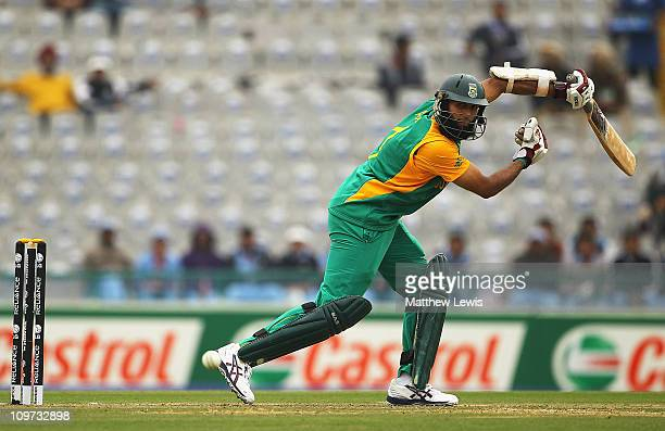 Hashim Amla of South Africa edges the ball towards the boundary during the 2011 ICC World Cup Group B match between Netherlands and South Africa at...
