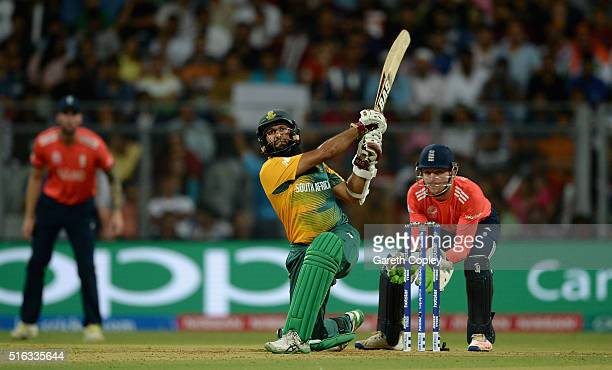 Hashim Amla of South Africa hits out for six runs during the ICC World Twenty20 India 2016 Super 10s Group 1 match between South Africa and England...