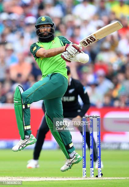 Hashim Amla of South Africa in action batting during the Group Stage match of the ICC Cricket World Cup 2019 between New Zealand and South Afica at...