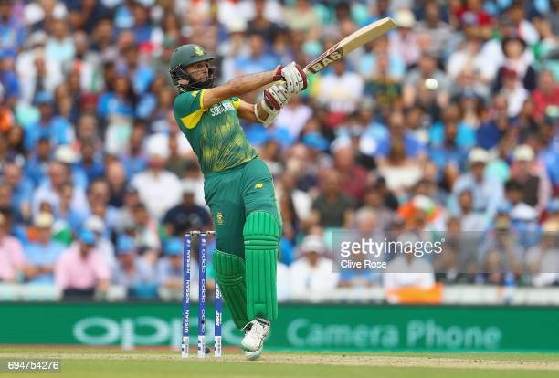 Hashim Amla of South Africa in action during the ICC Champions trophy cricket match between India and South Africa at The Oval in London on June 11...