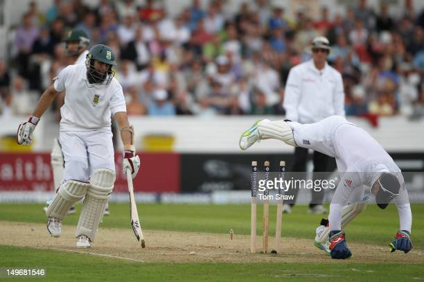 Hashim Amla of South Africa is run out by Matt Prior of Englandduring day 1 of the 2nd Investec Test Match at Headingley on August 2 2012 in Leeds...