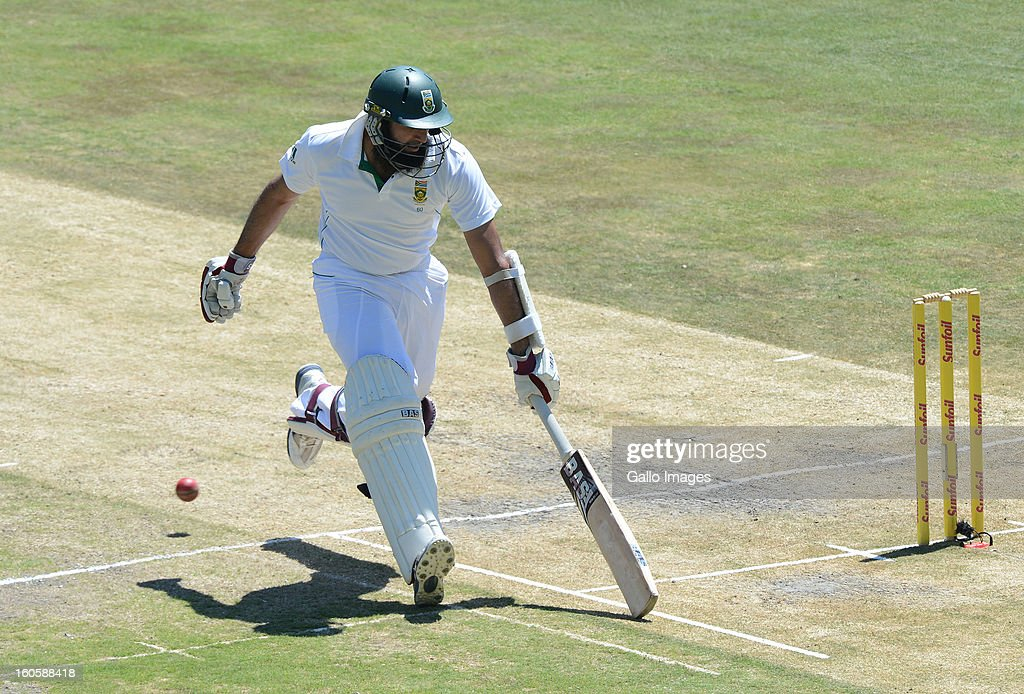 Hashim Amla of South Africa makes his ground during day 3 of the 1st Test match between South Africa and Pakistan at Bidvest Wanderers Stadium on February 03, 2013 in Johannesburg, South Africa.