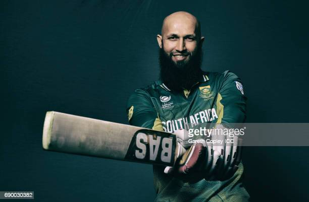 Hashim Amla of South Africa poses for a portrait at Royal Garden Hotel on May 30 2017 in London England