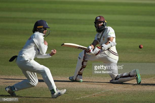 Hashim Amla of Surrey plays a shot on day four during the LV= Insurance County Championship match between Surrey and Glamorgan at The Kia Oval on...