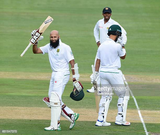 Hashim Amla of the Proteas celebrates his 100 runs during day 1 of the 3rd test between South Africa and Sri Lanka at Bidvest Wanderers Stadium on...