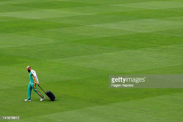 Hashim Amla walks across the field during a South Africa nets session at Basin Reserve on March 22 2012 in Wellington New Zealand