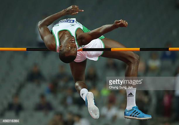 Hashim Essa Oqayba of Saudi Arabia compete in the Men's High Jump during day ten of the 2014 Asian Games at Incheon Asiad Main Stadium on September...