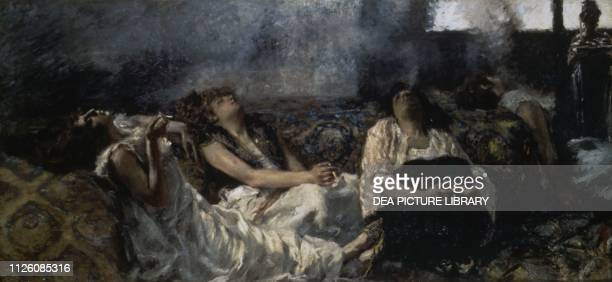 Hashish smokers by Previati Gaetano , oil on canvas, cm 140x311.