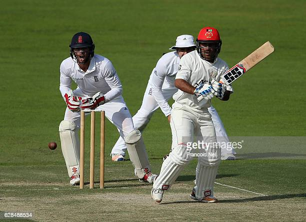 Hashmatullah Shahidi of Afghanistan bats during day two of the tour match between England Lions and Afghanistan at Zayed Cricket Stadium on December...