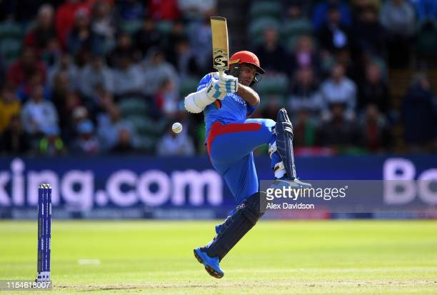 Hashmatullah Shahidi of Afghanistan bats during the Group Stage match of the ICC Cricket World Cup 2019 between Afghanistan and New Zealand at The...