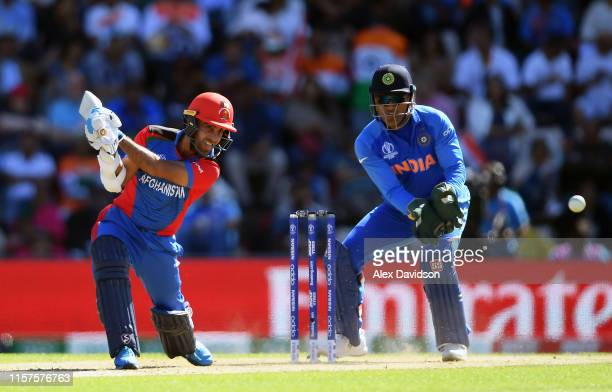 Hashmatullah Shahidi of Afghanistan bats during the Group Stage match of the ICC Cricket World Cup 2019 between India and Afghanistan at The...